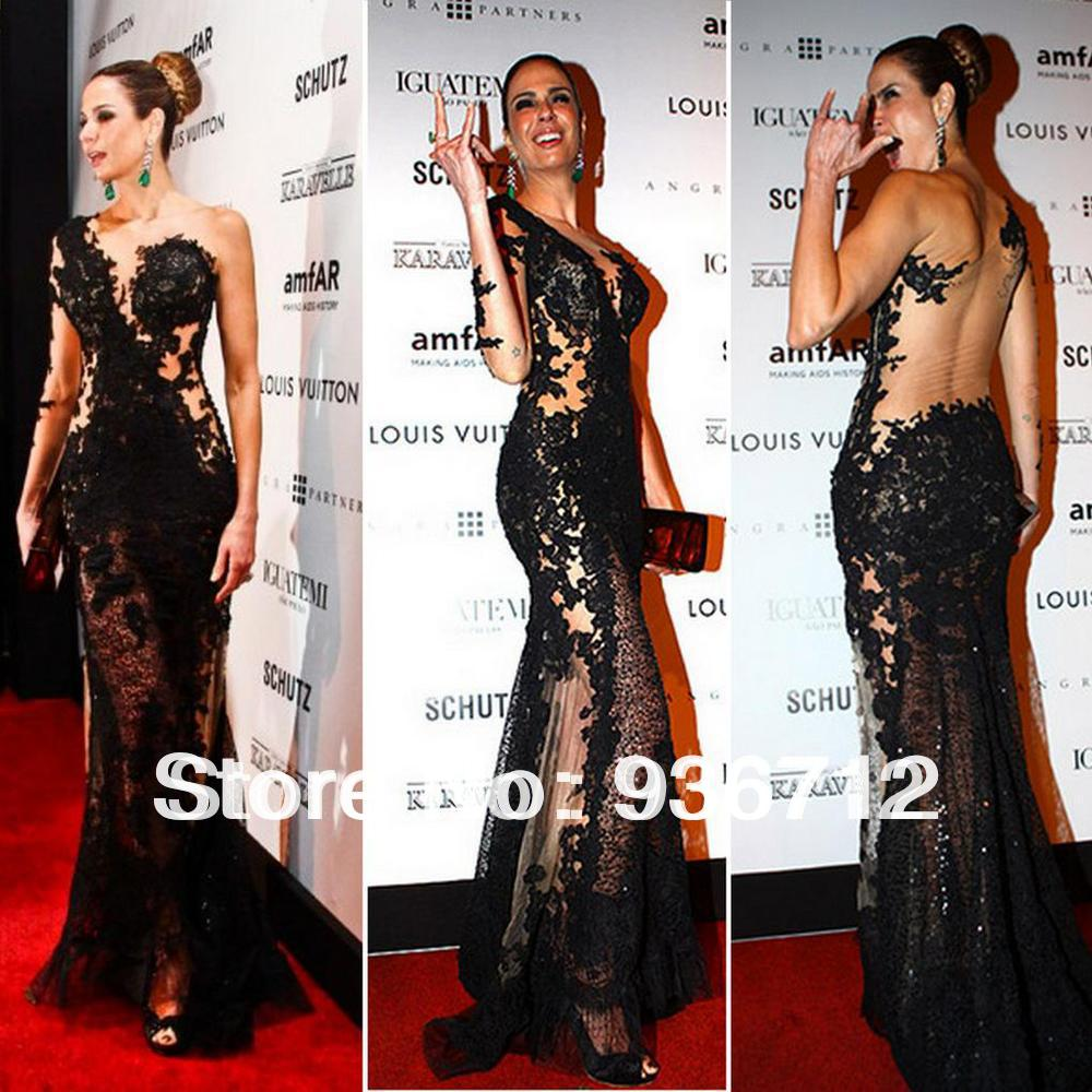 Black Sexy One Shoulder Floor Length Side Slit Celebrity Dresses Lace Sheath Evening Prom Gowns SF01393-in Evening Dresses from Apparel & Accessories on Aliexpress.com