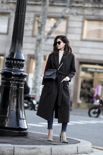 fake leather blogger coat bag sweater pants belt shoes jeans sunglasses black coat crossbody bag winter outfits high heel pumps pumps