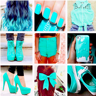shorts dip dyed melting iphone cover hair bow high heels vans tank top nail polish shoes shirt mint