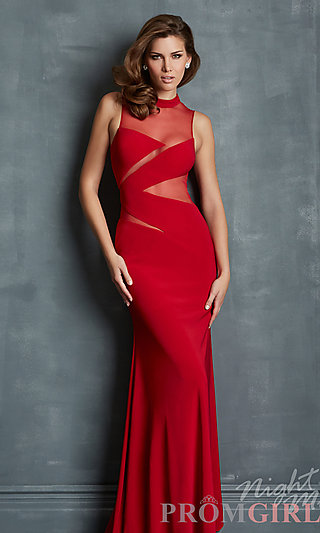Sheer Panel Evening Gowns, Night Moves Sexy Prom Dress- PromGirl