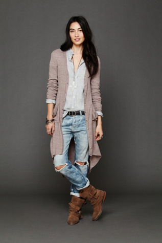 free people womens ribbed up maxi cardigan