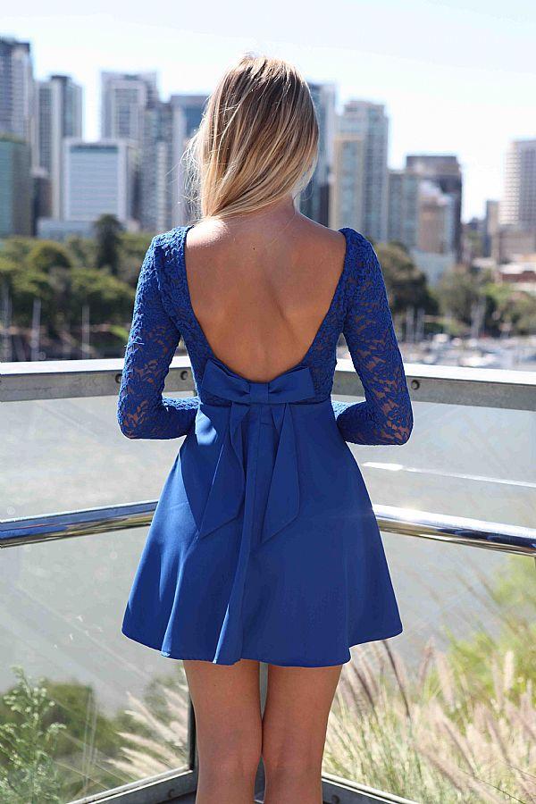 Blue Cocktail Dress - Blue Long Sleeve Skater Dress | UsTrendy