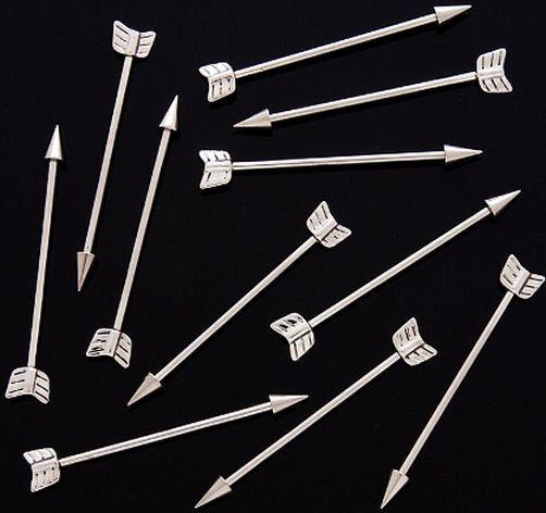 "Arrow Industrial Barbell for Ear Cartilage 14 Gauge Surgical Steel 1 5"" Bar | eBay"