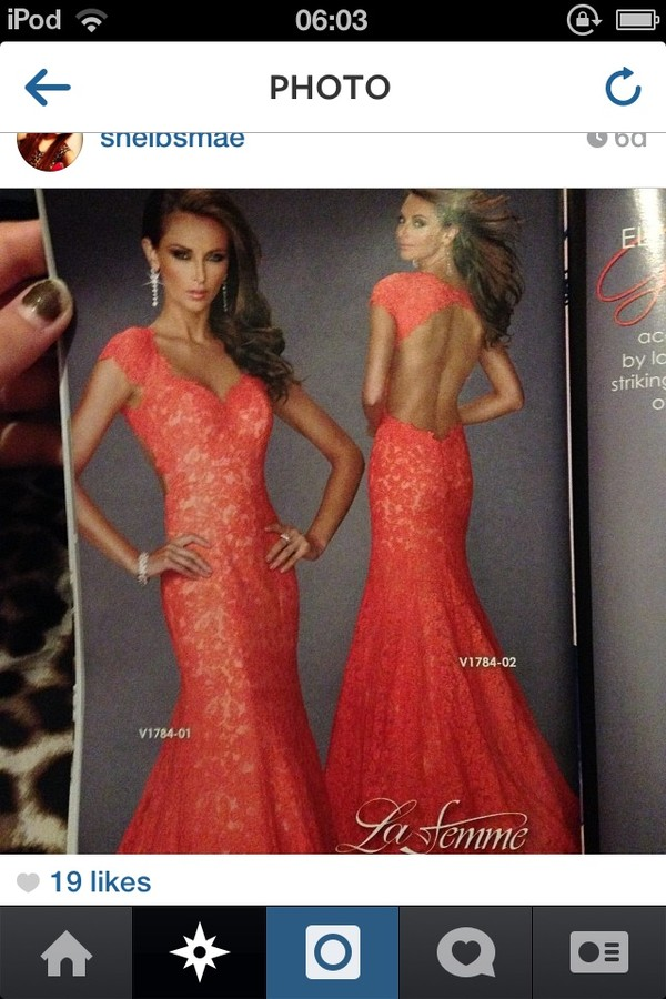 dress long tight peach pink pretty prom backless