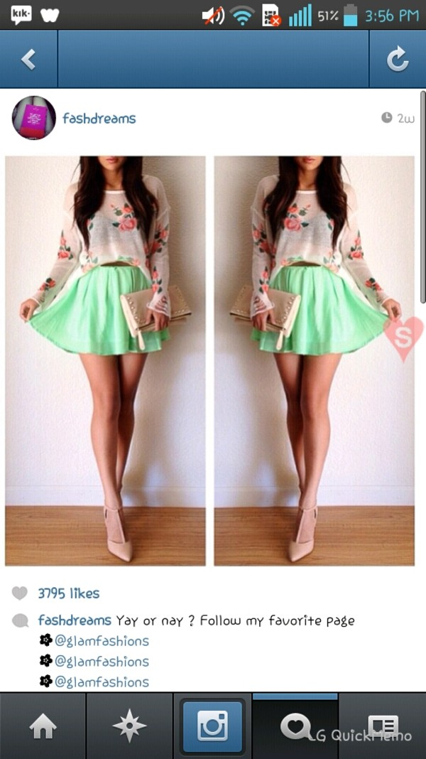skirt mint green skirt