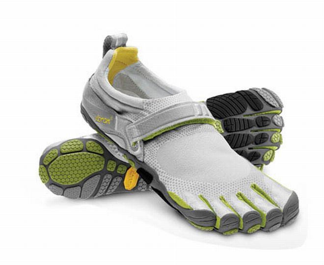 light green and grey vibram 5 fingers bikila running shoe
