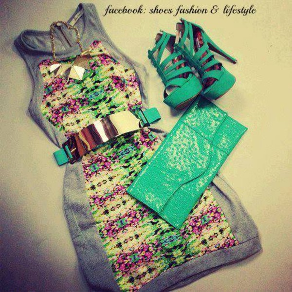 dress clothes bag belt jewels blue shoes turquoise high heels floral dress mint gree shoes cute dress cute tribal pattern colorful grey