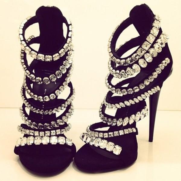 shoes heels diamonds black diamonds