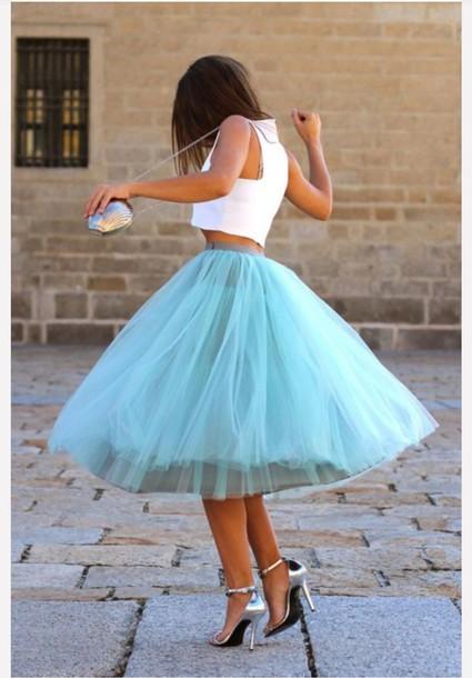 skirt blue skirt puffy skirt