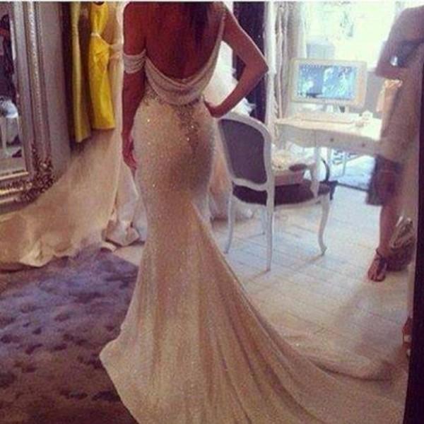 dress wedding cute white pearl dream long