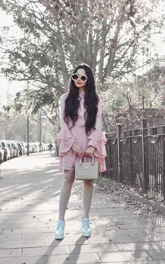 zebratrash blogger dress tights coat jewels bag sunglasses shoes pink dress mini dress valentines day polka dots polka dot tights white sunglasses date outfit date dress