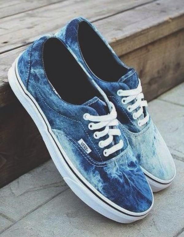 shoes blue light blue vans blue vans white vans tie dye tumblr tumblr girl tumblr shoes vans vans printed vans acide wash sea ocean nice acid wash vans beautiful pretty