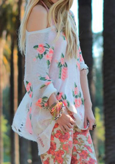 Floral Frayed Cuffs Top