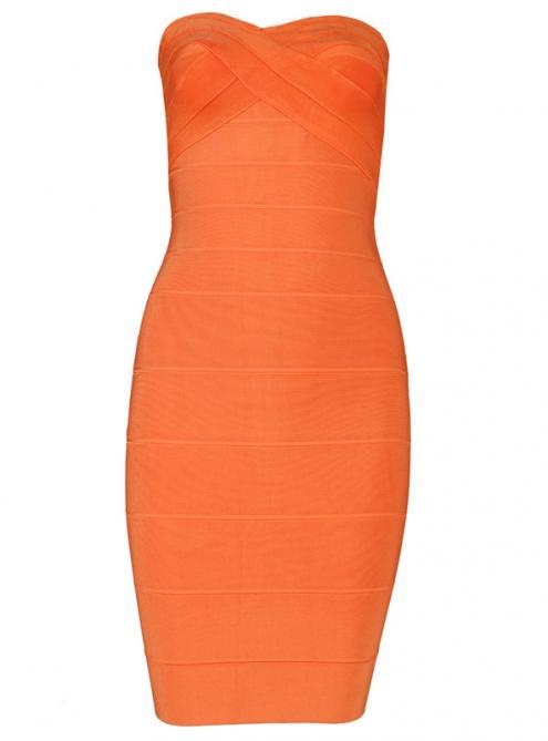 Sexy Strapless Bandage Dress Orange H011C$99