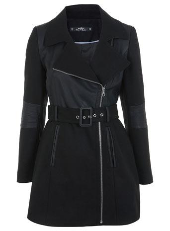 Petites Faux Leather Coat - Miss Selfridge
