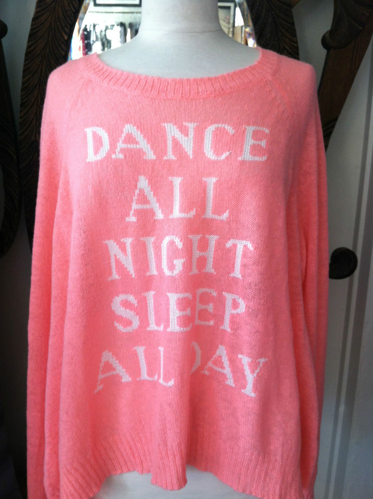 WILDFOX Dance All Night Sleep All Day Hot Pink Sweater L | eBay