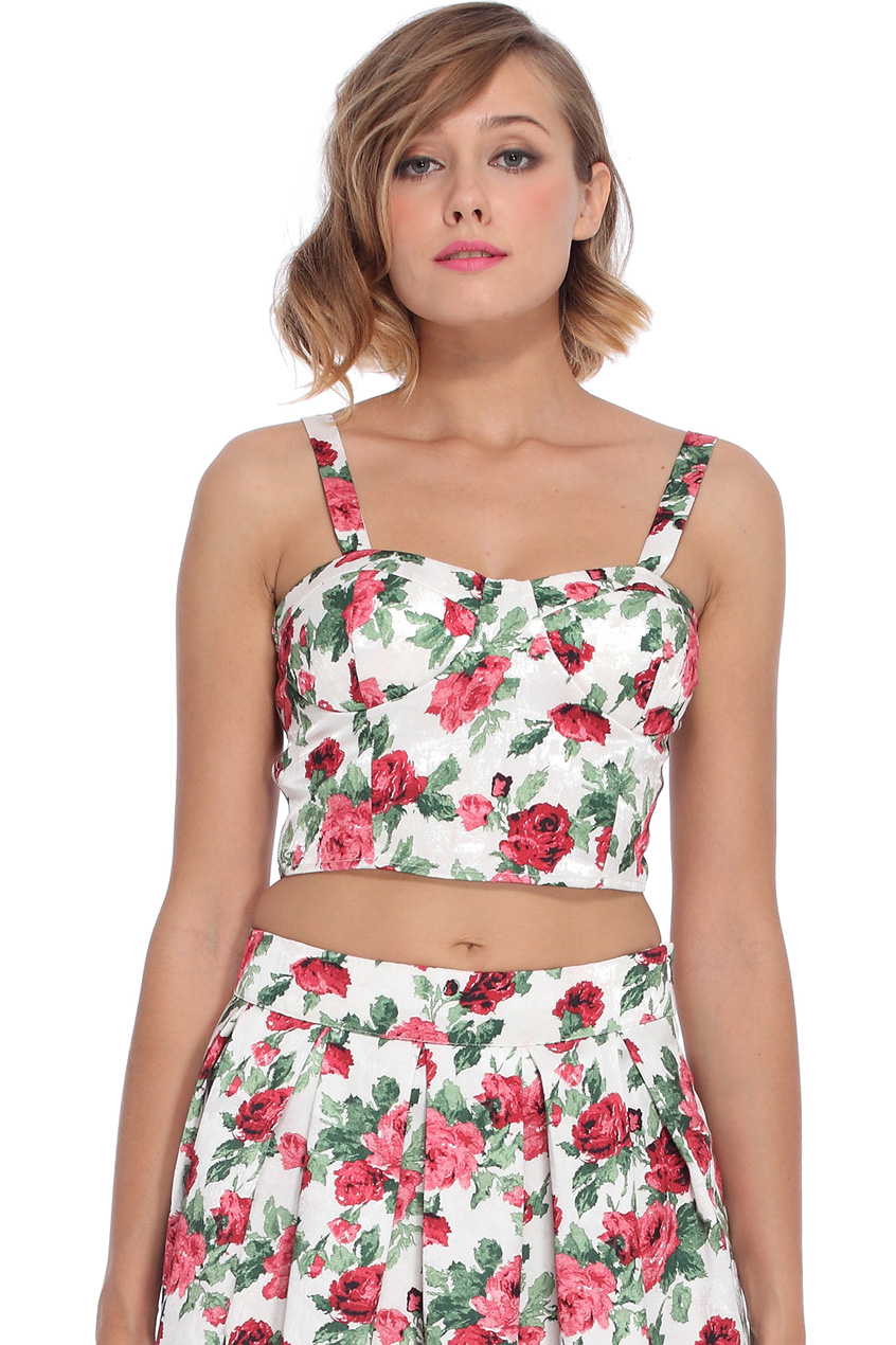 ROMWE | Red Floral Printed Camisole White Bandeau, The Latest Street Fashion