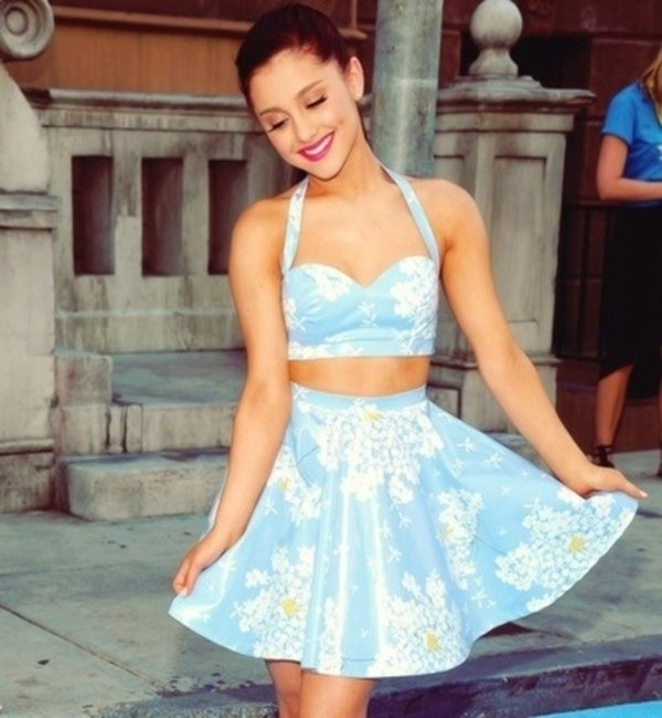 skirt floral flowers ariana grande floral skirt floral bustier dress blue bralette white yellow bra shirt tank top
