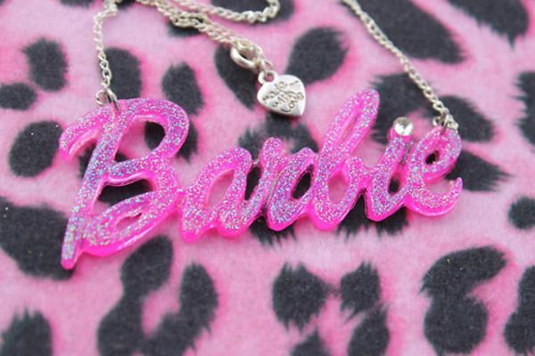 jewels barbie logo plastic necklace