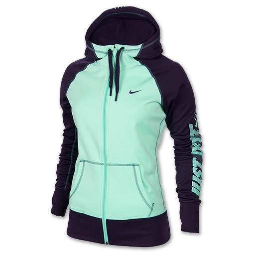 Women's Nike All Time Graphic Full-Zip Hoodie | FinishLine.com | Green Glow/Purple Dynasty