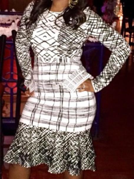 dress drop waist dress black and white dress