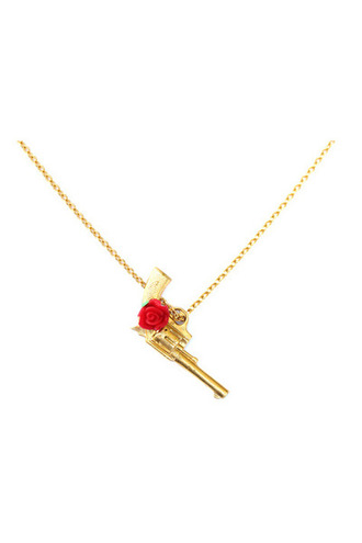 gold gun gold gun necklace rose necklace rose red rose gold necklace jewels