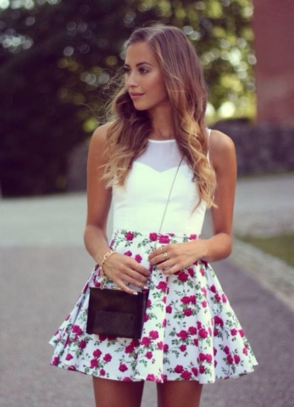skirt blouse spring purse white tank top hair accessory tights shirt white crop tops white shirt white blouse dress flowers pretty want Help need this dress gorgeous gorgeous dress floral floral dress 8thgraduation mini dress floral white cute floral skirt summer girl girly red red and white summer skirt denmark