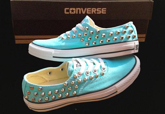 TIFFANY BLUE CONVERSE Studded Shoes Sale Custom Shoes All Star Chuck Mint Aqua Sky Blue on Wanelo