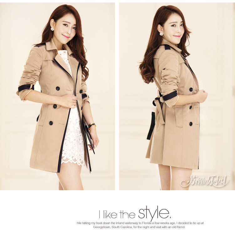 2013 new autumn women slim medium long trench coat Korea style ladies double breasted light tan trench outerwear X,M,L,XL X0171-inTrench from Apparel & Accessories on Aliexpress.com