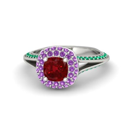 Cushion Ruby 14K White Gold Ring with Amethyst & Emerald | Elena Ring (6mm gem) | Gemvara