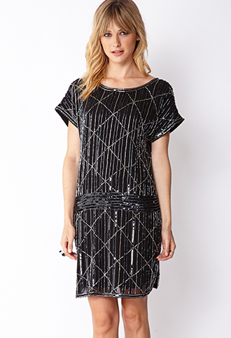 Glam Hour Beaded Drop Waist Dress | FOREVER21 - 2000111432