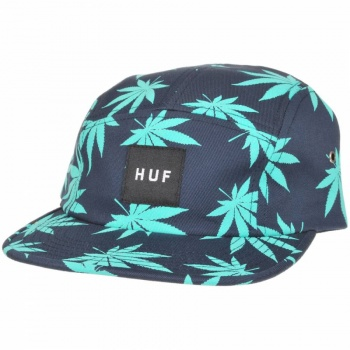 Huf  Plantlife Box Logo 5 Panel Volley Cap - Navy - Huf from Native Skate Store UK