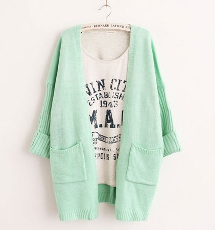 Women winter dress Candy color thin cardigan outerwear female  sweater batwing sleeve medium long mint green cardigan new 2014-inCardigans from Apparel & Accessories on Aliexpress.com