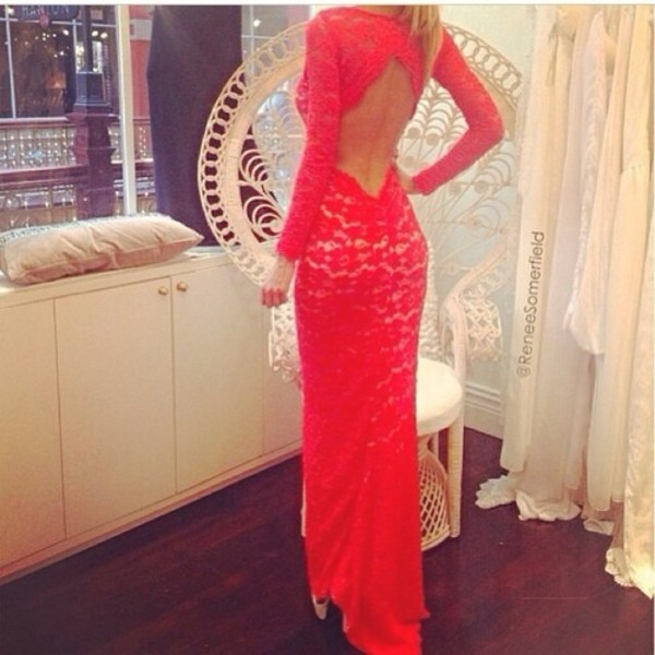 dress red long evening dress