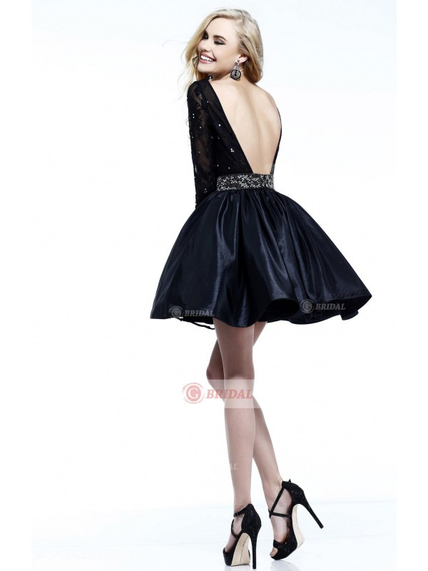 Baby Doll Round Backless Short/Mini Taffeta Long Sleeves Cocktail Dresses