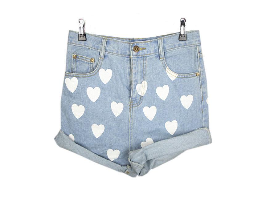 Summer White Heart Printed Blue Denim Shorts Light Blue Jeans Shorts Pants M L   eBay