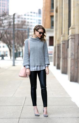 pennypincherfashion blogger sweater shirt pants shoes bag jewels grey sweater pink bag grey heels high heel pumps winter outfits