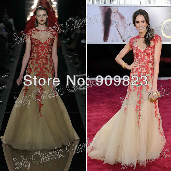 Aliexpress.com : Buy 2013 Oscar Awards Louise Roe Round Neck Sweetheart Cap Sleeves Red Lace A Line Tulle Celebrity Dresses Gowns 2013 from Reliable dress 2013 suppliers on my classic garden