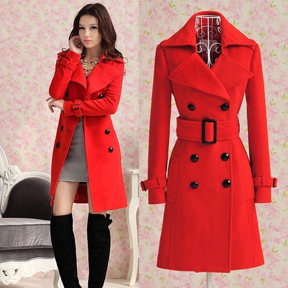 2013 Women's Red Trench Slim Winter Warm Coat Long Wool Jacket Outwear with Belt | eBay