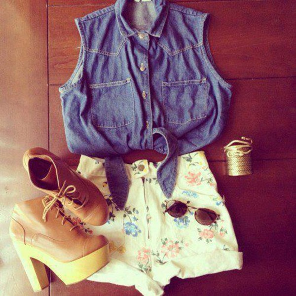 shorts flowered shorts denim shirt jewels shoes booties summr fashion sunglasses shirt