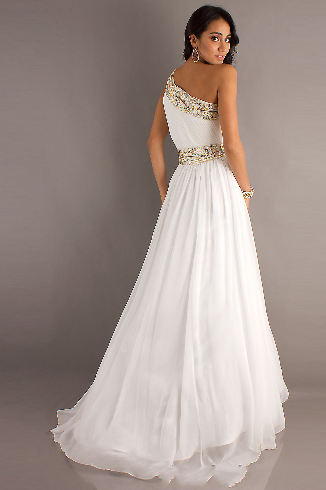 Buy Split Front One Shoulder White Prom Dresses On Sale,high quality!