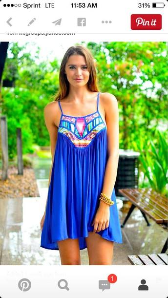 dress summer dress blue dress aztec