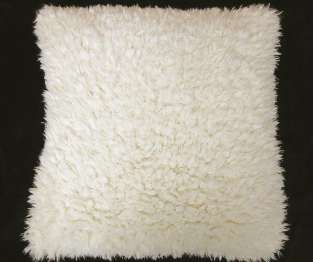 EF621 Cream White Very Soft Faux Sheep Fur Pillow Case Cushion Cover Custom Size   eBay