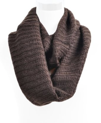Amazon.com: Knitted Solid Color Acrylic & Wool Infinity Scarf, Brown: Clothing