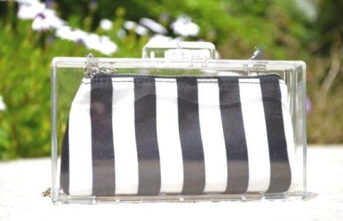 RARE Zara Clear Box Clutch with Black White Nautical Stripes Perspex Bag | eBay