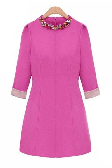 Color Block Round-neck Dress with Rhinestones [FXBI00346] - PersunMall.com