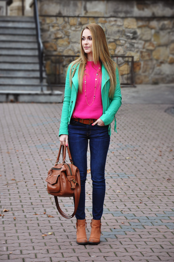 karina in fashionland jacket sweater jeans shoes belt jewels