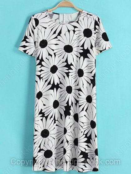 White Round Neck Short Sleeve Floral Print Dress - HandpickLook.com