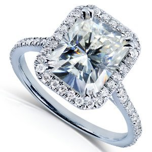 3ct DEW Radiant-cut Moissanite and Diamond Engagement Ring in 14k White Gold on Wanelo