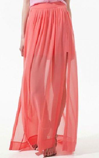 Pink Pleated Chiffon Split Side Long Sheer Skirt